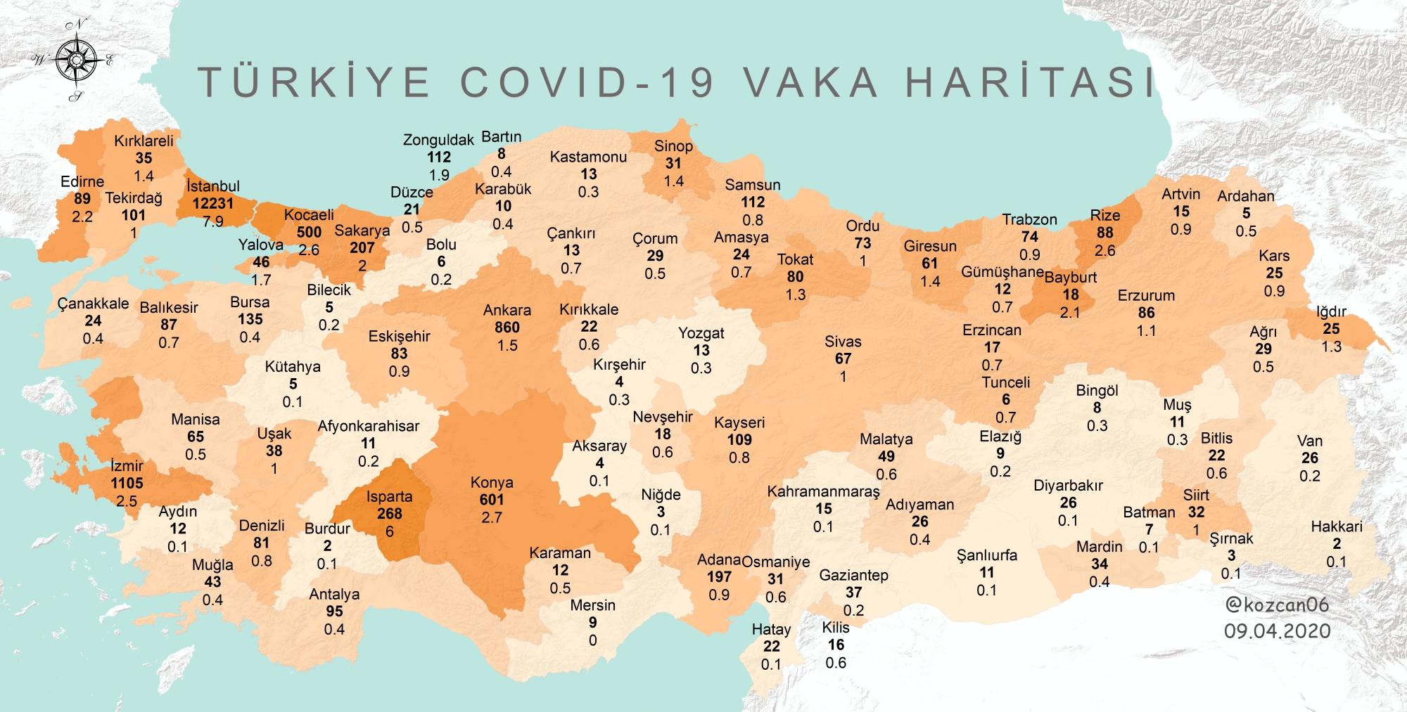 Corona Türkiye illere göre vaka haritası (Kürşat Özcan)